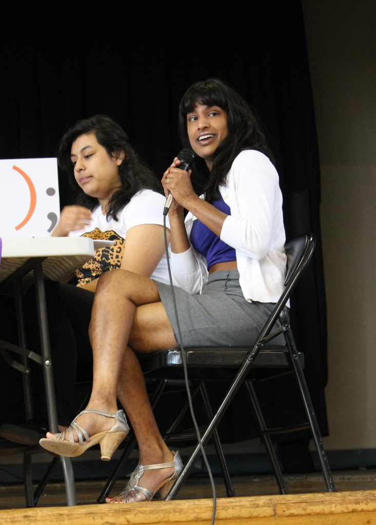 Helen Cartagena, Student at Metro HS, and Vauhini Vara, Wall Street Journal Reporter moderate the second session